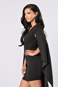 Can't Find Me Cape Dress - Black Angle 5
