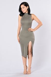 Too Good For You Dress - Olive Angle 1