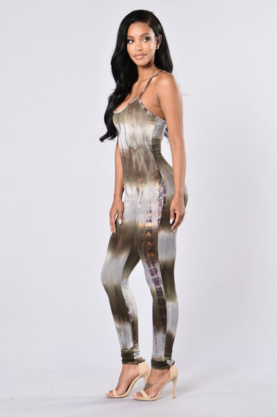 Ride or Tie Dye Jumpsuit - Olive