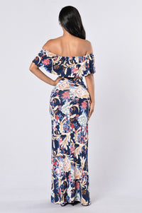 Saint Lucia Dress - Navy/Coral