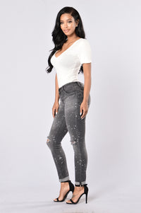 Caution: Wet Paint Jeans - Black Splatter Angle 6