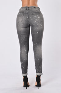 Caution: Wet Paint Jeans - Black Splatter Angle 3