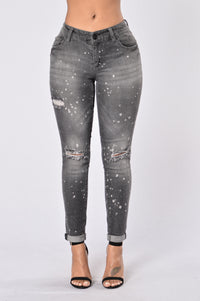 Caution: Wet Paint Jeans - Black Splatter Angle 1