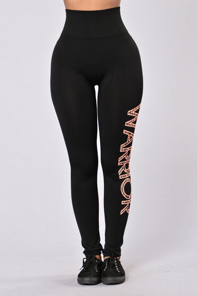 Rebel Leggings - Black/Neon Orange