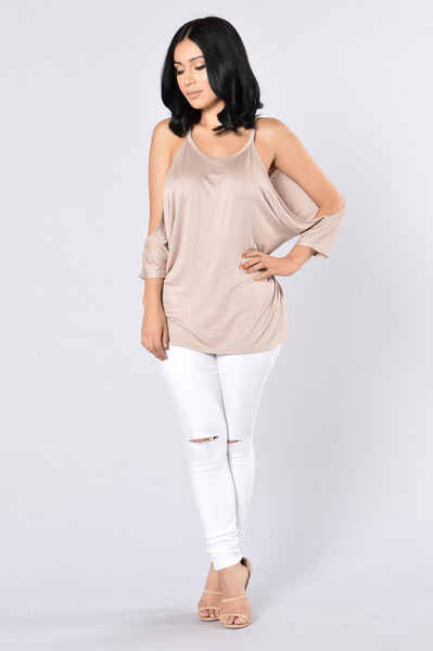 Cut It Out Top-Taupe