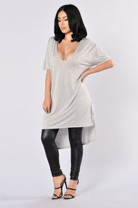 How You Doing? Tunic - Heather Grey Angle 1
