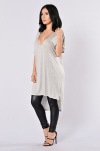 How You Doing? Tunic - Heather Grey Angle 3