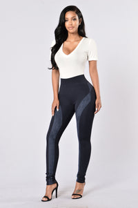 Persuasive in Suede Legging - Navy Angle 2