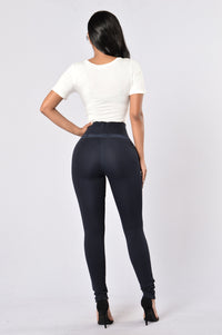 Persuasive in Suede Legging - Navy Angle 5