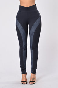 Persuasive in Suede Legging - Navy Angle 1