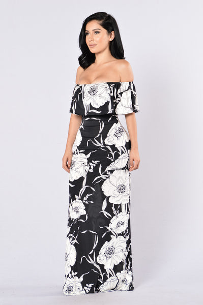 Saint Lucia Dress - Black/White