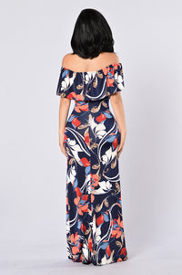 Saint Lucia Dress - Navy/Red