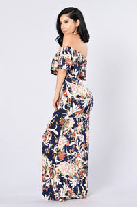 Saint Lucia Dress - Navy/Brown