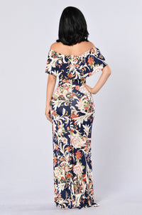 Saint Lucia Dress - Navy/Brown Angle 3
