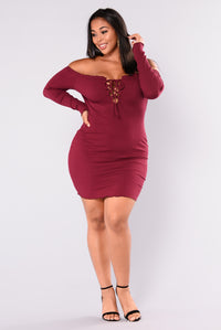 Unforgettable Love Ribbed Mini Dress - Burgundy