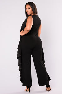 Stuck On It Ruffle Jumpsuit - Black