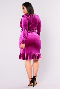 Have Everything Velvet Wrap Dress - Magenta