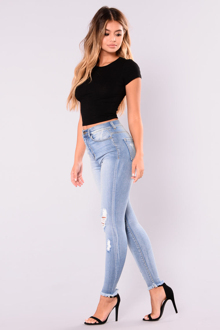 Smiley High Rise Distress Jeans - Light Blue Wash