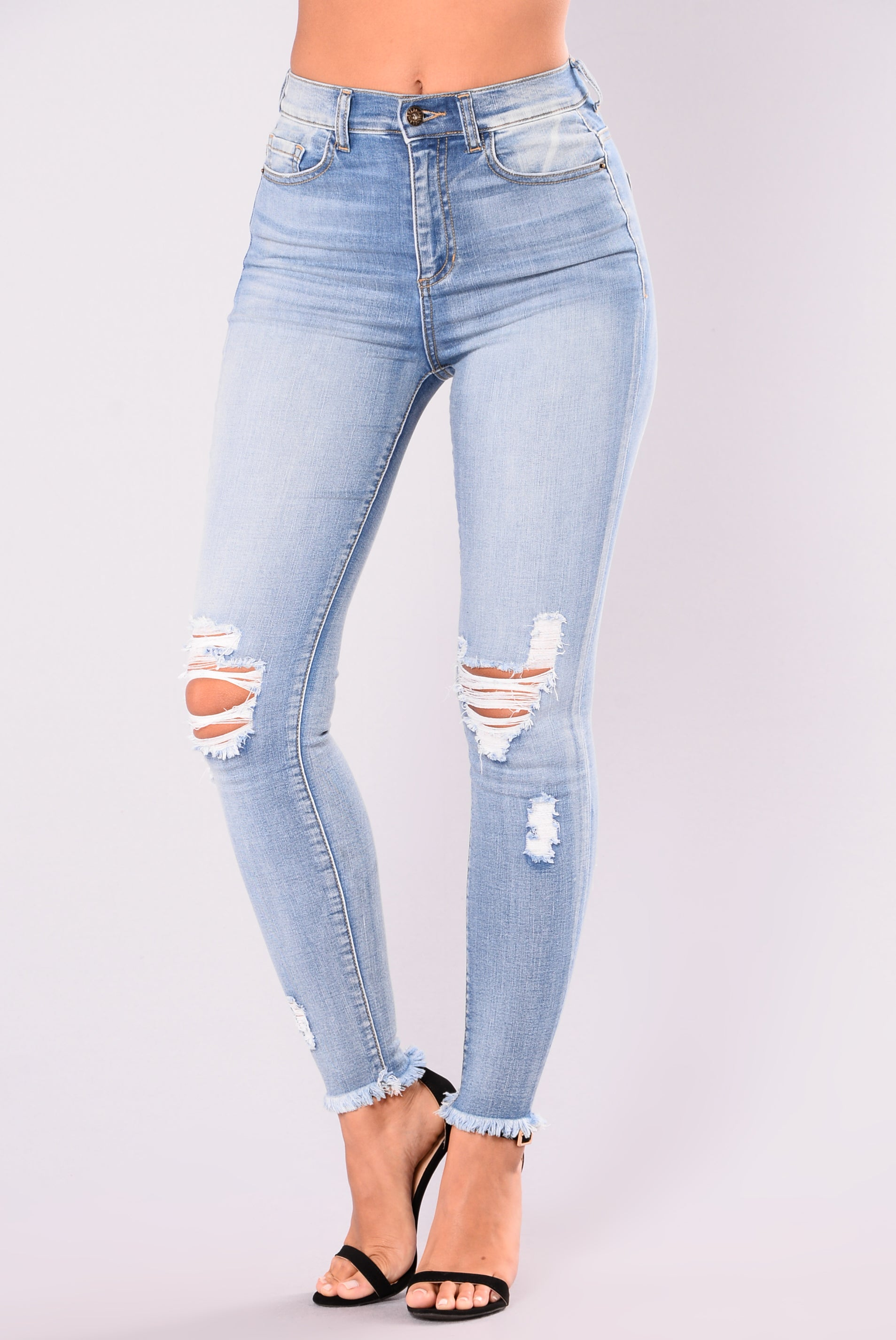 bf3f295c7d8 Smiley High Rise Distress Jeans - Light Blue Wash