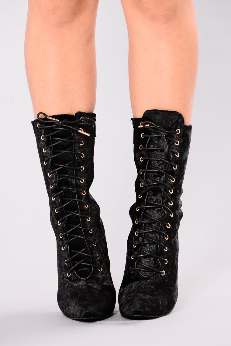Alice Lace Up Bootie - Black