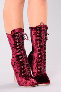 Alice Lace Up Bootie - Wine