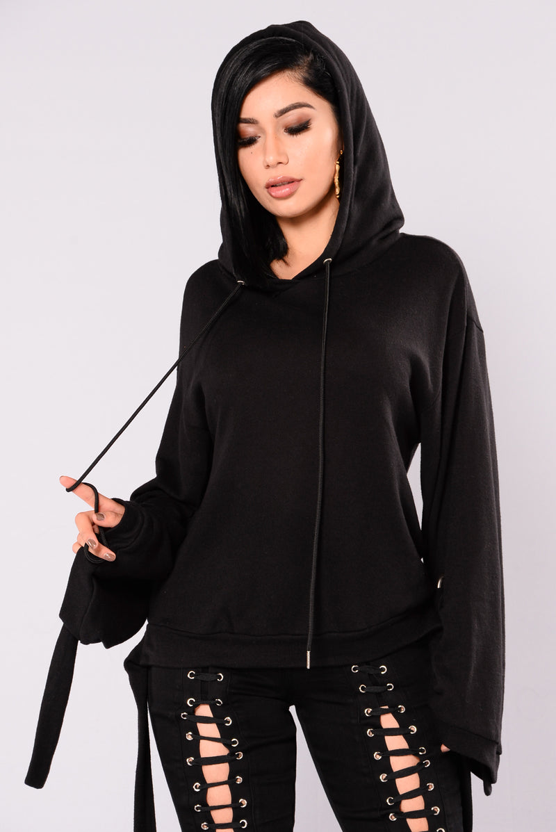 Destiny Pull On Sweater With Hoodie - Black