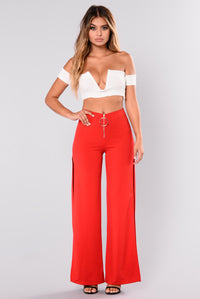 Christy Side Slit Pants - Red Angle 1