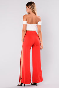 Christy Side Slit Pants - Red Angle 5