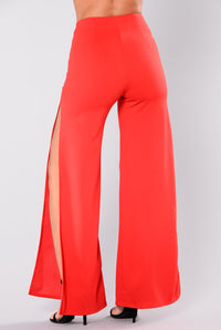 Christy Side Slit Pants - Red