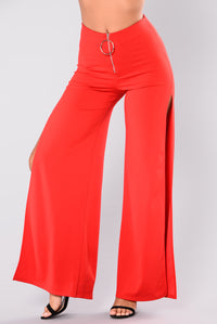 Christy Side Slit Pants - Red Angle 2