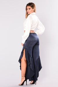 Georgina Ruffle Satin Pants - Navy