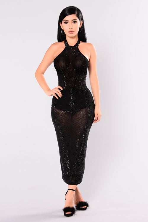 Glo Up Rhinestone Dress - Black 06aeb0c17943