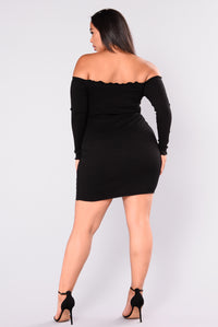 Unforgettable Love Ribbed Mini Dress - Black