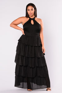 Dacey Ruffle Dress - Black