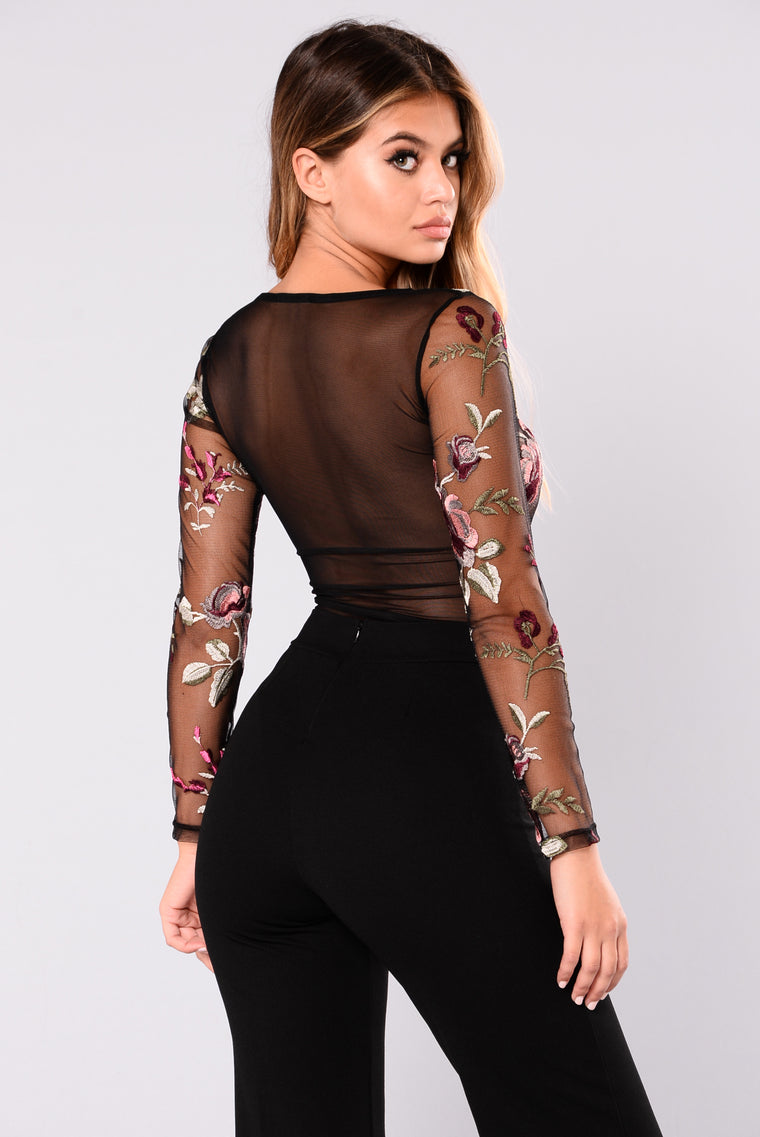 Gracie Floral Mesh Bodysuit - Black