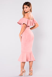 Aliana Suede Dress - Dusty Pink
