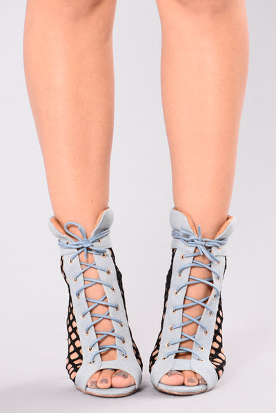 Alexa Lace Up Bootie - Denim