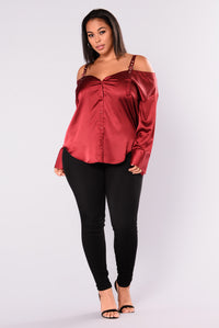 Yesenia Satin Top - Burgundy Angle 6