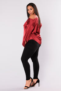 Yesenia Satin Top - Burgundy Angle 9