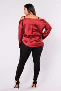 Yesenia Satin Top - Burgundy Angle 10