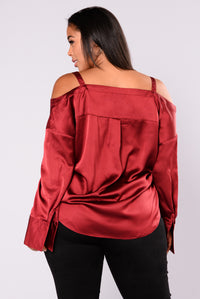 Yesenia Satin Top - Burgundy Angle 11