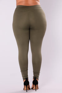 Distance Between Us Ponte Pants - Olive