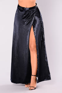 Wrap Me Around Satin Skirt - Navy