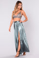 Wrap Me Around Satin Skirt - Teal Blue