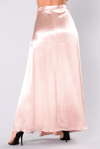 Wrap Me Around Satin Skirt - Rose Gold