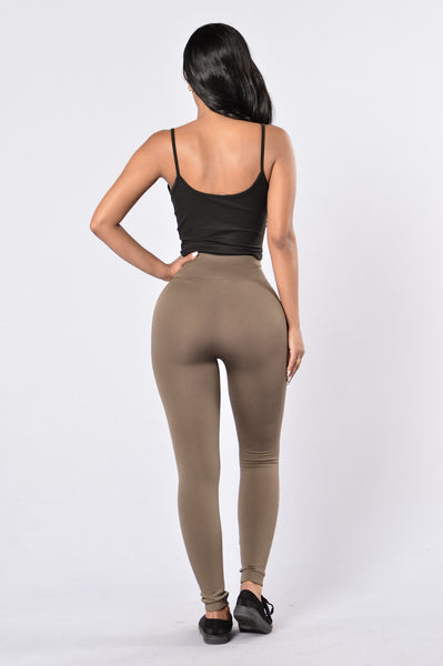 Yes Fleece Leggings - Olive