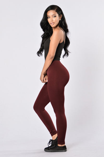 Yes Fleece Leggings - Burgundy