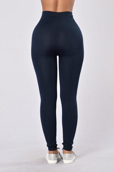 Yes Fleece Leggings - Navy