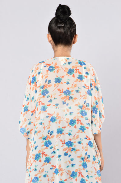 Grow Flowers In Your Heart Kimono - Blue