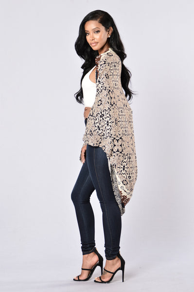 Optical Illusion Kimono - Navy/Brown